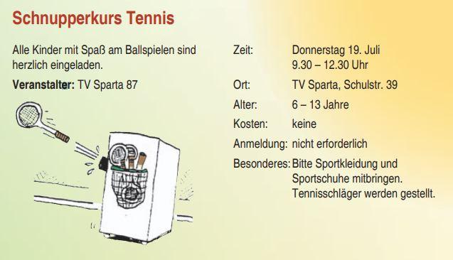 19.07.18: 9.30 bis 10.30 Uhr: Ferienpassaktion der Stadt Nordhorn – Schnupperkurs Tennis