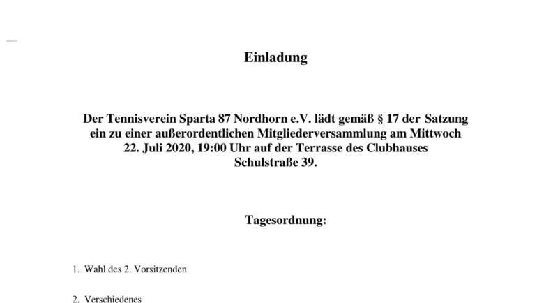 22.07.20 – Einladung zur außerordentlichen Mitgliederversammlung