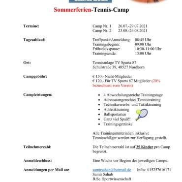 Kinder-Sommerferien-Tenniscamp 2021